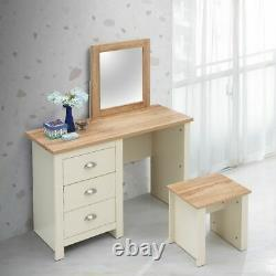 Dressing Table 3 Drawer Set Cream Vanity Makeup Desk Stool Mirror