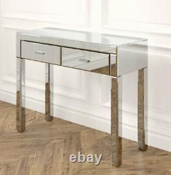 Dressing Table Glass Mirrored Vanity Table With Two Draws