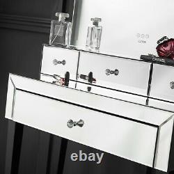 Dressing Table LED Light Desktop Mirror Touch Sensor with Drawer Silver Set