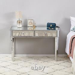 Dressing Table Mirrored Vanity Makeup stool Dresser Set Glass Bedroom Console UK