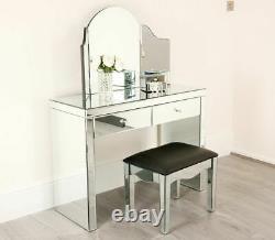 Dressing Table Mirrored Vanity Makeup stool Set Dresser Glass Drawer Bedroom