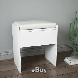 Dressing Table Set Vanity Stool Makeup Desk Slid Mirror 4 Drawer Dresser Bedroom