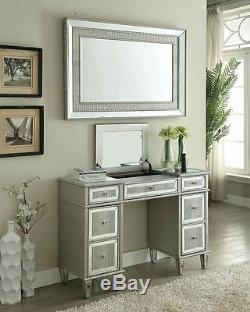 Dressing Table Silver Venetian Glass Mirror 5 Drawer Mirrored Crystal Sideboard