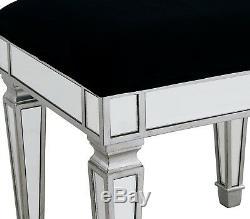 Dressing Table Stool Mirrored Silver Mock Croc Glass Black Luxury Velvet Bedroom