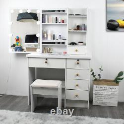 Dressing Table Stool Set Makeup Desk With USB 10 LED Lights Mirror Shelves Drawer