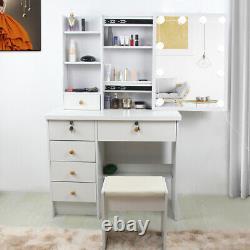 Dressing Table Stool Set Makeup Desk with 10 LED Lights Mirror 5 Drawers Kit