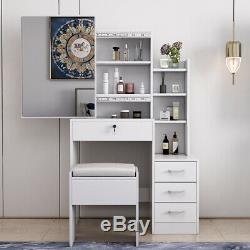 Dressing Vanity Table / Stool / Set Makeup Dresser Large Sliding Mirror Drawers