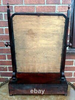 Early Georgian antique mahogany 3 drawer dressing table mirror original glass