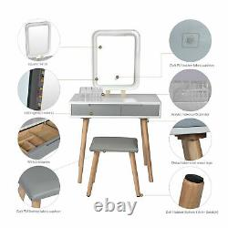Elecwish Dressing Table Makeup Desk Vanity LED Light Mirror Stool Set Wood Home