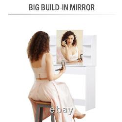 Elegant Wood Dressing Table With Mirror, Big Drawers, Open Shelf Bedroom White