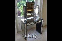 Embossed 2 Drawer Side Dressing Table Mirrored Console End Dresser Storage Desk