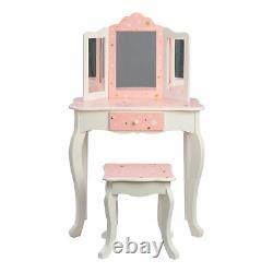 Fantasy Fields By Teamson Vanity Set Wooden Stars Dressing Table with Mirror &
