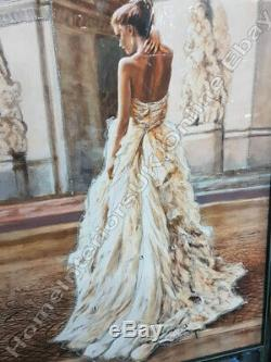 Figurative/lady home decor pictures with liquid art, crystals & mirror frames