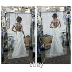 Figurative/lady white dress wall art with crystals, liquid art & mirror frames