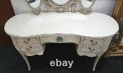 French Louis Kidney Shaped Glass Top Ivory & Gold Dressing Table with Mirrors