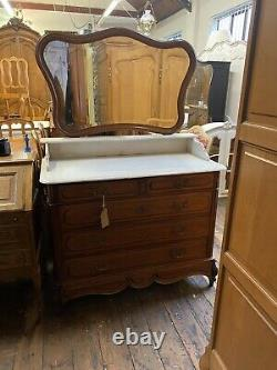 French Louis Marble Top & Shelf Dressing table / Chest Of Drawers With Mirror