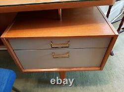 G Plan desk dressing table teak with 3 mirrors, glass top and make up drawer