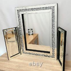 Gatsby Dressing Table Mirror Crushed Diamond Crystal Silver Bevel Glass 87x63cm
