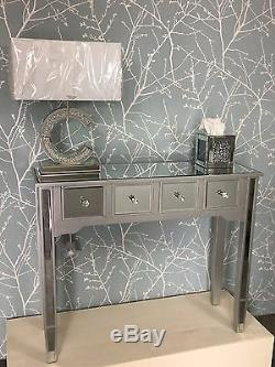 Georgia Silver Mirrored 4 Drawer Wooden Console Display Hall Dressing Table