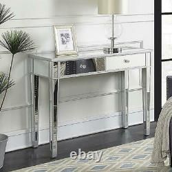 Glass Dressing Table Mirrored Make-up Desk 2 Drawers