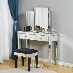 Glass Mirrored Bedroom Furniture-Dressing Table, Stool, Mirrors & Bedside Table