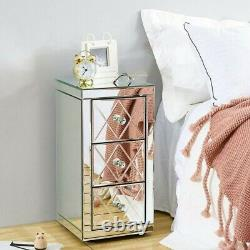 Glass Mirrored Bedroom Furniture-Dressing Table, Stool, Mirrors, Bedside Table