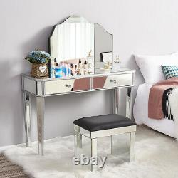 Glass Mirrored Dressing Table Bedside Console Dresser Table/Stool/Mirror Option