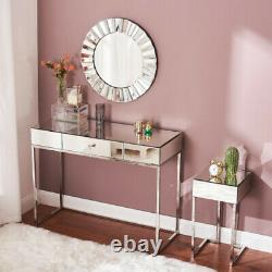 Glass Mirrored Dressing Table Bedside Table Console Dresser Table/Mirror UK