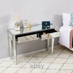 Glass Mirrored Mirrored Bedroom Furniture 2 Drawer Dressing Table, Stool, Mirror