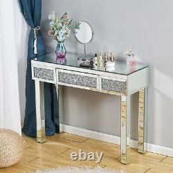 Glass Mirrored Withdiamond Bedroom Furniture-Dressing Make-up Table, Stool, Mirror