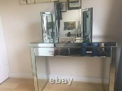 Glass mirrored dressing table Including Make Up Mirror