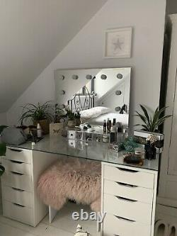 Glass top dressing table with 10 drawers and hollywood vanity mirror and stool