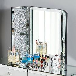 Gorgeous Mirrored diamond Dressing Table Glass Drawer Vanity Table, Mirror, Stool