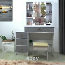 Gray Dressing Table Stool Jewelry Makeup Desk with Led Mirror & 4 Drawers Bedroom
