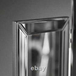 Grey Tri Fold Desktop Triple Mirror Bevelled Glass Vanity Dressing Table Bedroom