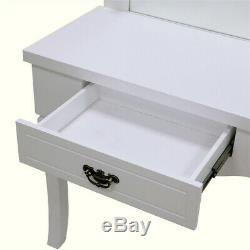 HD Wood Dressing Table Beauty Station Makeup Table Mirror Drawer Vanity Mirror