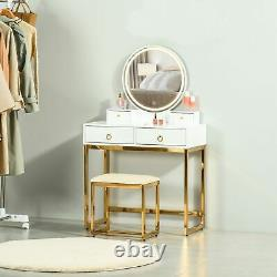 HOMCOM Dressing Table Set Vanity Desk With LED Mirror & Stool 4 Drawers