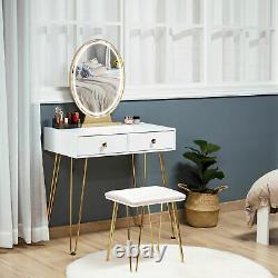 HOMCOM Dressing Table Set With LED Mirror & Stool 2 Drawers Makeup Desk