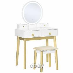 HOMCOM Dressing Table Set With LED Mirror, Stool & 4 Drawers Makeup Desk White