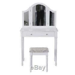 HOMCOM Large Dressing Table Set Shabby Chic Stool Mirror Drawer