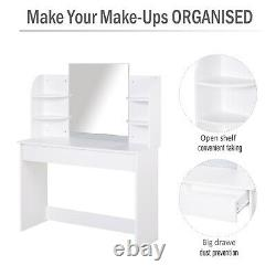 HOMCOM Wood Dressing Table With Mirror Big Drawers Open Shelf Writing Desk Bedroom