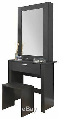 Hobson Mirrored Dressing Table Set Makeup Dresser Desk Drawer & Stool Espresso