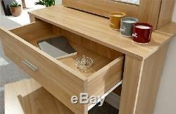 Hobson Mirrored Dressing Table Set Unit Makeup Dresser Desk Drawer & Stool Oak