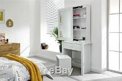 Hobson Mirrored Dressing Table Set Unit Makeup Dresser Desk Drawer & Stool White