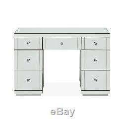 Hollywood Dressing Table Mirrored Glass 7 Drawer Vanity Dresser Bedroom Modern