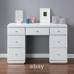 Hollywood Dressing Table White Glass 7 Drawer Vanity Dresser Bedroom Modern