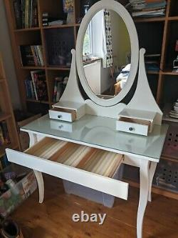 Ikea Hemnes White dressing table with glass top, mirror, 3 drawers RRP£165