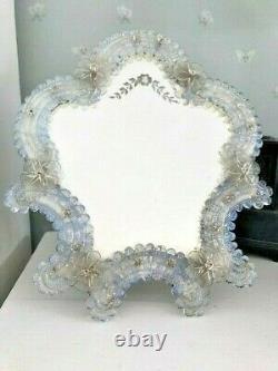 LARGE 37cm Vintage Venetian Murano Opalescent Glass Dressing Table Vanity Mirror