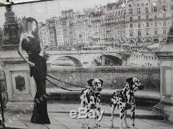 Lady in black dress with 2 Dalmatian dogs on leash with crystals, & liquid art