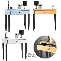 Laguna Mirrored Dressing Table With Drawer Glass Vanity Makeup Dresser Bedroom